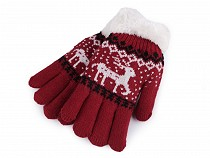 Girls Knit Gloves with Fur, Norwegian pattern
