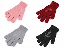 Dievčenské pletené rukavice s vločkou