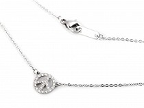 Stainless Steel Necklace with Rhinestone Owl, Butterfly