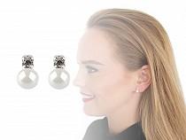 Perlové náušnice s českou sklenenou perlou a kamienkom
