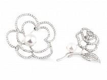 Brož květ s perlou a broušenými kamínky