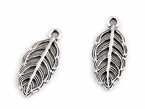 Metal Charm Leaf / Feather 11x25 mm