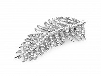 French Hair Clip Leaf with AB effect Rhinestones