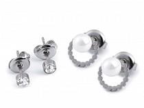 Stainless Steel Stud Earrings Set 2 pairs