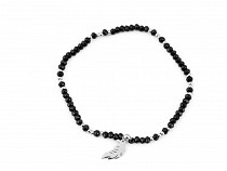 Seed Beads Bracelet with Stainless Steel Charm - Feather
