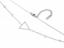 Náhrdelník trojuholník z nerezovej ocele s brúsenými kamienkami