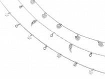 Halskette aus Edelstahl mit Anhängern - Stern, Herz, Flügel
