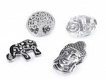 Velká magnetická brož Buddha, slon, strom života, spirály s perlami