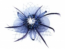 Fascinator / Brooch Flower with Feather