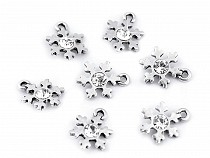 Metal Charm Snowflake with Rhinestone Ø15 mm