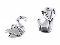 Metal Charm Origami Swan, Fox