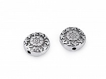 Perle métallique Fleurs, Ø 11 mm, 2e qualité