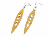 Ohrringe aus Edelstahl Leder Blätter