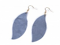 Stainless Steel Earrings with Leather Feather