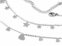 Náramek z nerezové oceli srdce, hvězdy