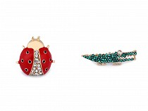Brooch / Badge with Rhinestones ladybird, crocodile, baby girl