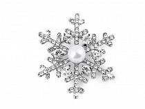 Rhinestone Snowflake Brooch with Pearl Bead