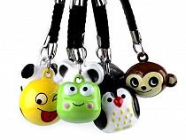 Fityegő kulcsra csengettyű, pingvin, panda, smajli, egér, majom