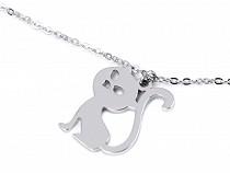 Halskette aus Edelstahl Katze, Herz