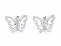 Náušnice z nerezovej ocele mini Love, mini motýľ s brúsenými kamienkami