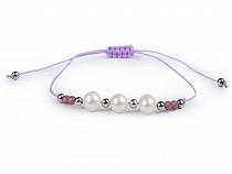 Armband Shamballa Flussperlen und geschliffene Perlen