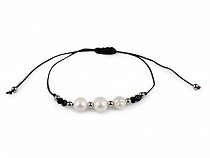 Shamballa Bracelet River Pearl Beads and Cut Stones