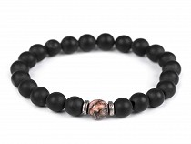 Bracelet made of minerals, rhodonite and glass beads