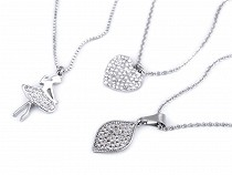 Nyakék rozsdamentes acélból csiszolt kövekkel - balett-táncosnő, szív, levél