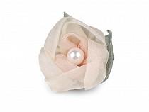 Brošňa kvet z organzy s perlou