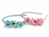 Girls Satin Headband with Flowers