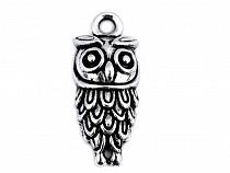 Metal Charm / Pendant Owl 10x23 mm