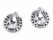 Metal Charm / Pendant Horse in Horseshoe 18x21 mm