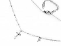 Halskette aus Edelstahl Kreuz mit geschliffenen Steinchen