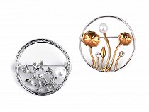 Brošňa s brúsenými kamienkami a perlou