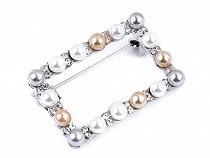 Perlenbrosche mit geschliffenen Steinchen