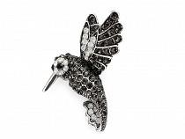 Brož s broušenými kamínky kolibřík