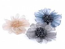 Brož květ s broušenými korálky