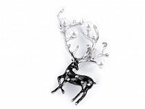 Brooch Deer with Rhinestones and Pearls