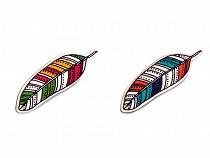 Wooden Brooch Heart, Feather