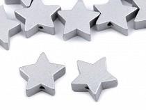 Koraliki drewniane gwiazdki metaliczne Ø19 mm