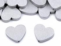 Wooden Beads - Metallic Heart 21x23 mm