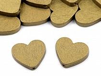 Fa gyöngy szív fém 21x23 mm
