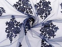 Hímzett csipke anyag kétoldalas bordúr