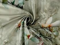 Satén hedvábný, digitální potisk květů magnólie Indonésie