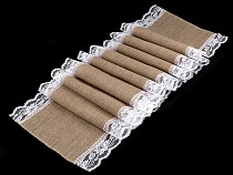 Jute Table Runner / Tablecloth with Lace 42x300 cm