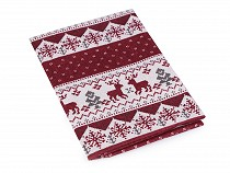 Tkanina dekoracyjna motyw świąteczny - imitacja lnu 45x45 cm