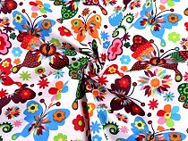 Pamut anyag pillangó és virág