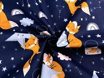 Bavlněná látka noční obloha, liška
