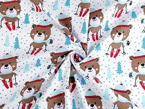 Vánoční bavlněná látka medvěd