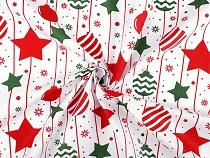Vianočná bavlnená látka banky a hviezdy